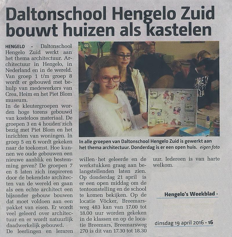 Daltonschool Hengelo Zuid bouwt huizen als kastelen